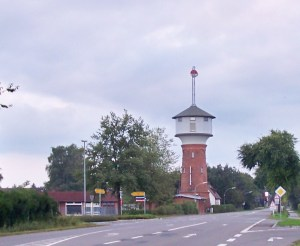 Hohenlockstedt's landmark: the watertower, built 1900 - 1901 provieded the soldiers with water